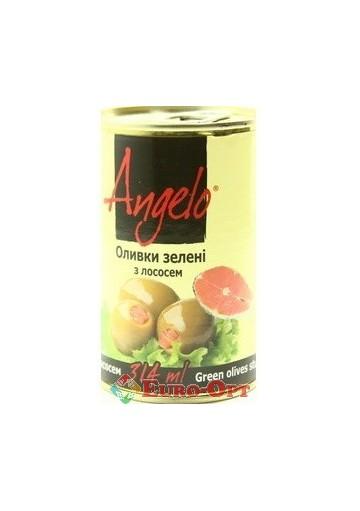 Оливки Angelo зеленые с лососем 314g