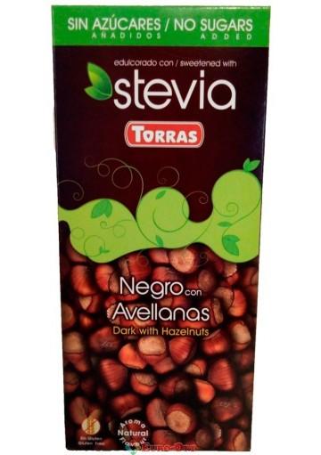 Torras Stevia Negro con Avellanas 125g