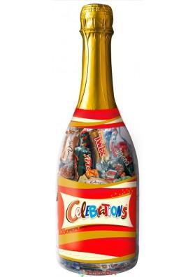 Праздничная подарочная бутылка с конфетами