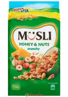Musli Bona Vita Honey & Nuts Crunchy (Мюсли Бона Вита Мед и Орехи) 750g.