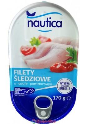 Nautica Filety Sledziowe w Sosie Pomidorowym (Филе Сельди в Томатном Соусе) 170g.
