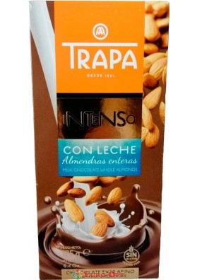 Шоколад Trapa Intenso Con Leche Whole Almonds (Трапа c мигдалем) 175g.