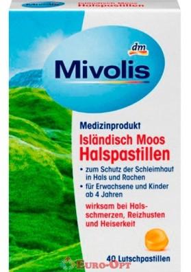 Леденцы от Боли в Горле Mivolis Isländisch Moos 40 Tabs