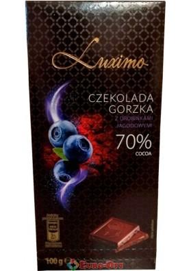 Шоколад чорний з чорницею Luximo 70% cacao 100g