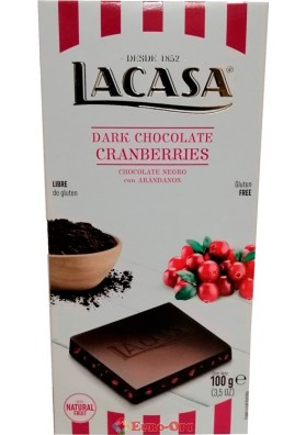 Шоколад Черный с Клюквой Lacasa Dark Chocolate Cranberries 100g