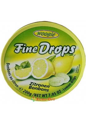 Леденцы с Лимонным Вкусом Woogie Fine drops Zitronen 200g